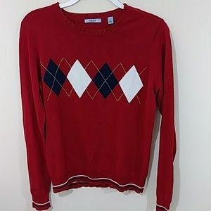 Cotton Argyle Sweater Izod Sz M